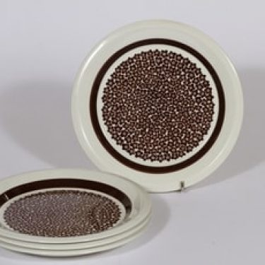 Arabia Faenza lautaset, ruskea, 4 kpl, suunnittelija Inkeri Seppälä, pieni, serikuva