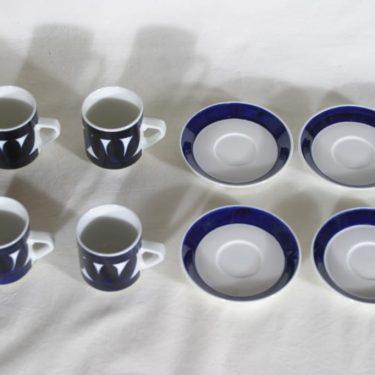 Arabia Sotka kahvikupit, käsinmaalattu, 4 kpl, suunnittelija Raija Uosikkinen, käsinmaalattu kuva 4
