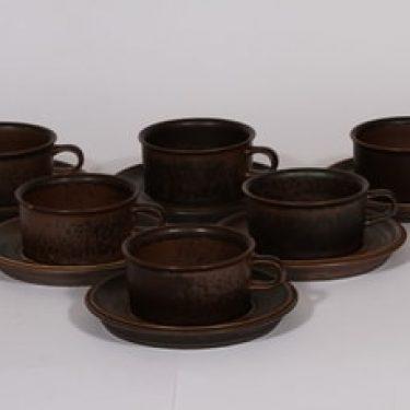 Arabia Ruska teekupit, ruskea lasite, 6 kpl, suunnittelija Ulla Procope,