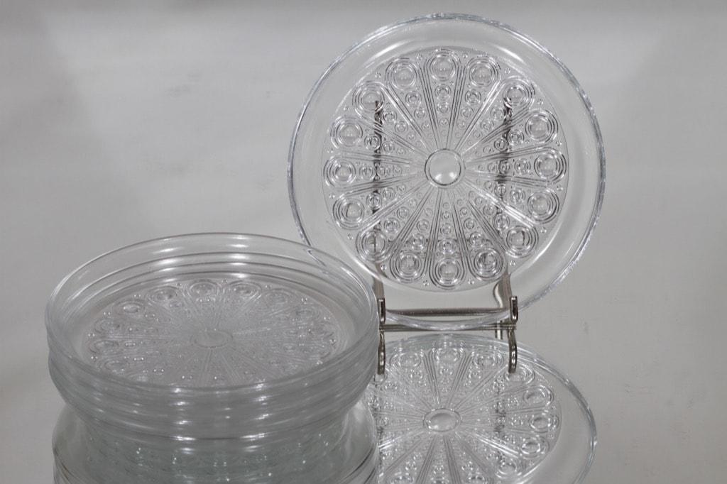 Riihimäen lasi Riikinkukko lautaset, kirkas, 5 kpl, suunnittelija Nanny Still, pieni