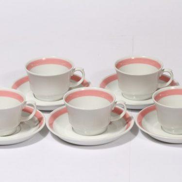 Arabia Punavalko kahvikupit, punainen, 5 kpl, suunnittelija , raitakoriste