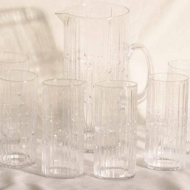 Iittala Mesi lasikaadin ja lasit, kirkas, 6 kpl, suunnittelija Tapio Wirkkala,