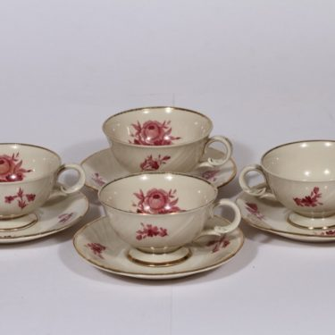 Arabia Regina kahvikupit, 4 kpl, suunnittelija , serikuva, kukka-aihe