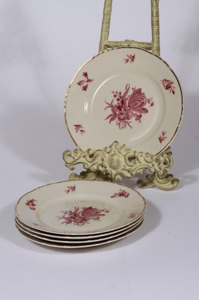Arabia Regina leivoslautaset, 5 kpl, suunnittelija , serikuva, kukka-aihe