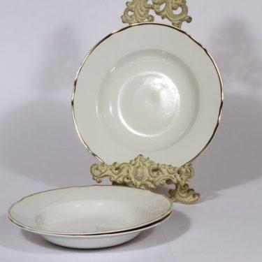 Arabia viivakoriste syvät lautaset, 3 kpl, suunnittelija , kullattu