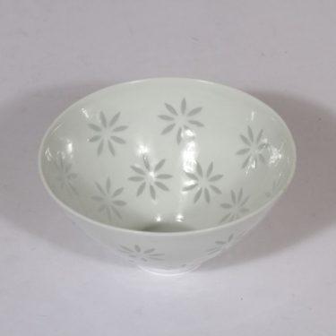 Arabia Lehti kulho, valkoinen, suunnittelija Friedl Holzer-Kjellberg, pieni, riisiposliini, massasigneerattu