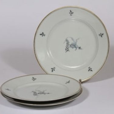 Arabia Mökki lautaset, 3 kpl, suunnittelija Rainer Baer, pieni, painokuva, art deco