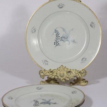 Arabia Mökki lautaset, 3 kpl, suunnittelija Rainer Baer, matala, painokuva, art deco