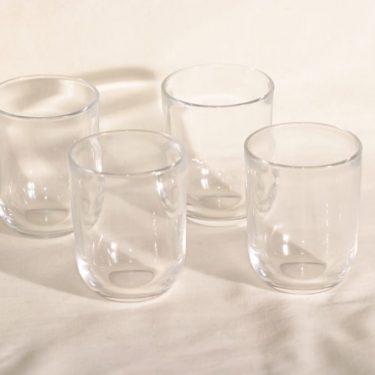 Nuutajärvi Facetti lasit, kirkas, 4 kpl, suunnittelija Kaj Franck,