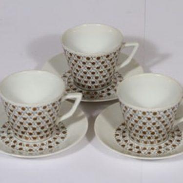 Arabia Mekka kahvikupit, 3 kpl, suunnittelija Esteri Tomula, serikuva
