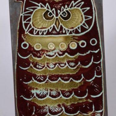Arabia AH seinälaatta, Pöllö, suunnittelija , Pöllö, massiivinen, käsinmaalattu, signeerattu