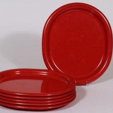 Sarvis Pitopöytä lautaset, punainen, 6 kpl, suunnittelija Kaj Franck, soikea