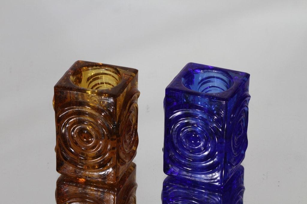Riihimäen lasi Rengas kynttilänjalat, amber|sininen, 2 kpl, suunnittelija Tamara Aladin, pieni