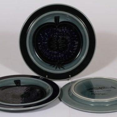 Arabia Fructus lautaset, käsinmaalattu, 3 kpl, suunnittelija Gunvor Olin-Grönqvist, käsinmaalattu, pieni, signeerattu, retro