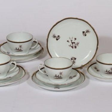Arabia Diana kahvikupit ja lautaset, 4 kpl, suunnittelija , painokoriste, art deco