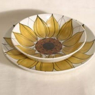 Arabia Aurinkoruusu lautaset, käsinmaalattu, 2 kpl, suunnittelija Hilkka-Liisa Ahola, käsinmaalattu