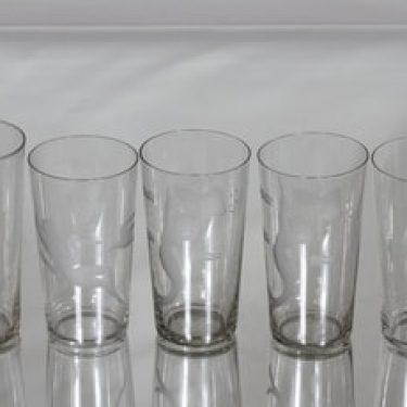 Riihimäen lasi juomalasit, eri kokoja, 5 kpl, suunnittelija , eri kokoja, hiottu