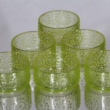 Riihimäen lasi Grapponia annoskulhot, keltainen, 6 kpl, suunnittelija Nanny Still,