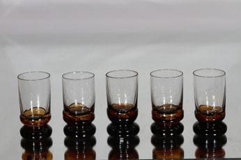 Humppila Kievari lasit, 4 cl, 5 kpl, suunnittelija Matti Halme, 4 cl, ruskea jalka