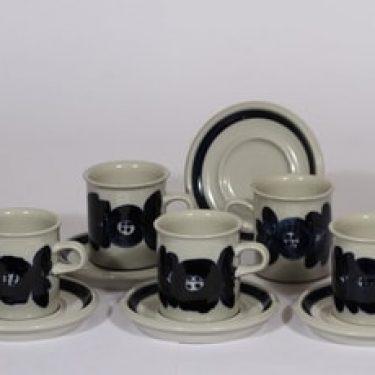 Arabia Anemone kahvikupit, käsinmaalattu, 5 kpl, suunnittelija Ulla Procope, käsinmaalattu