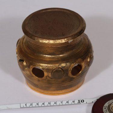 Savitorppa kynttilälyhty, suunnittelija Erkki Stenius, käsin dreijattu, signeerattu, kullattu kuva 2