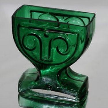 Riihimäen lasi Viktoriana maljakko, vihreä, suunnittelija Helena Tynell,