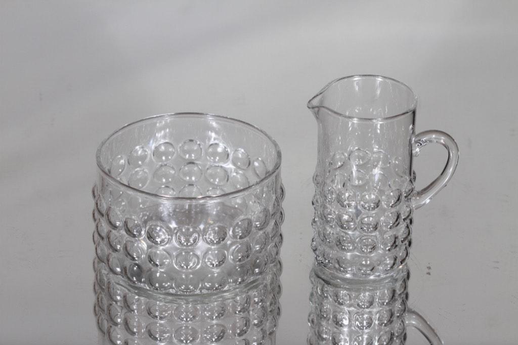 Riihimäen lasi Grapponia sokerikko ja kermakko, kirkas, suunnittelija Nanny Still,