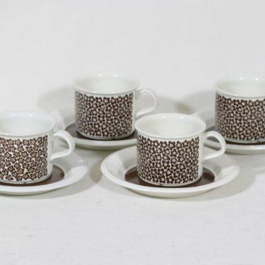 Arabia Faenza kahvikupit, ruskeakukka, 4 kpl, suunnittelija Inkeri Seppälä, ruskeakukka
