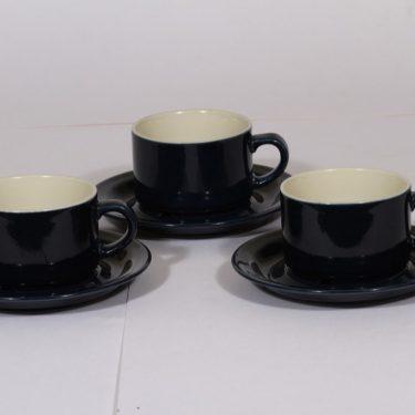 Arabia Kievari kahvikupit, sininen, 3 kpl, suunnittelija Göran Bäck,