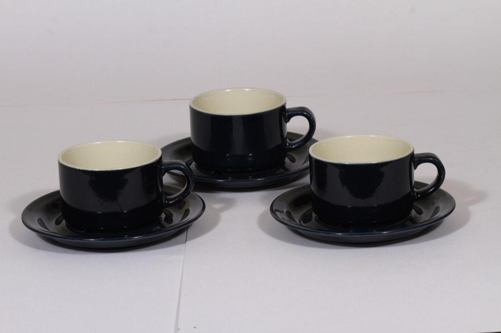 Arabia Kievari coffee cups, blue, 3 pcs, Göran Bäck,