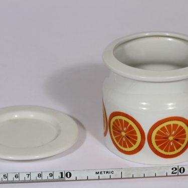 Arabia Pomona purnukka, appelsiini, suunnittelija Raija Uosikkinen, appelsiini, serikuva, retro kuva 2