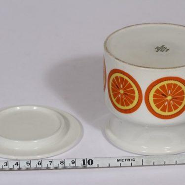 Arabia Pomona purnukka, appelsiini, suunnittelija Raija Uosikkinen, appelsiini, serikuva, retro kuva 3