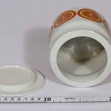 Arabia Pomona purnukka, appelsiini, suunnittelija Raija Uosikkinen, appelsiini, serikuva, retro kuva 4