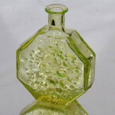 Riihimäen lasi Stella Polaris koristepullo, keltainen, suunnittelija Nanny Still,
