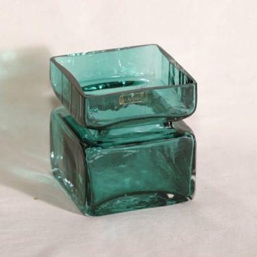 Riihimäen lasi Pala lasimaljakko, turkoosi, suunnittelija Helena Tynell,