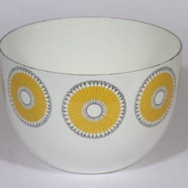Finel kehäkukka kulho, keltainen, suunnittelija Esteri Tomula, serikuva, retro
