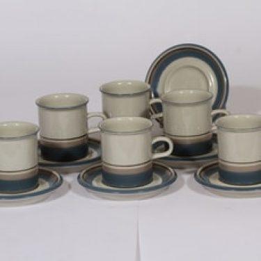 Arabia Uhtua kahvikupit, sininen, 6 kpl, suunnittelija Inkeri Leivo, raitakoriste