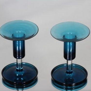 Riihimäen lasi Harlekiini 1916 kynttilänjalat, sininen, 2 kpl, suunnittelija Nanny Still, pieni