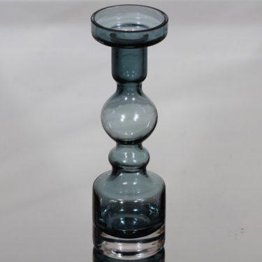 Riihimäen lasi Pompadour kynttilänjalka, siniharmaa, suunnittelija Nanny Still,