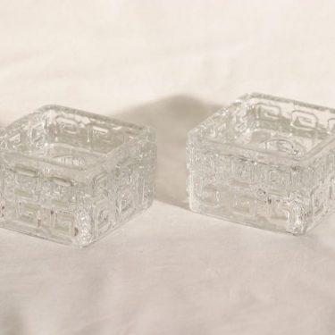 Riihimäen lasi Taalari kynttilänjalat, kirkas, 2 kpl, suunnittelija Tamara Aladin,