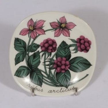 Arabia Botanica koristelautanen, Mesimarja, suunnittelija , Mesimarja, pieni, serikuva