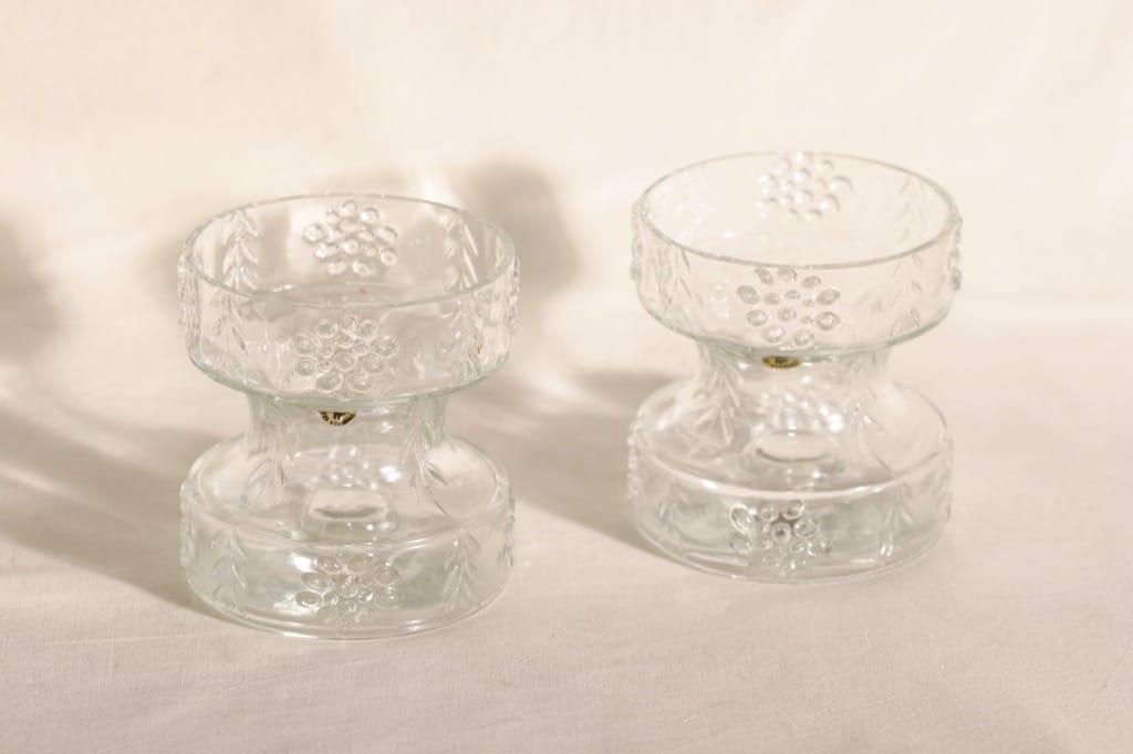 Riihimäen lasi Mesimarja kääntömaljakot, kirkas, 2 kpl, suunnittelija Tamara Aladin,