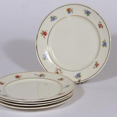 Arabia Sirkka lautaset, 5 kpl, suunnittelija , serikuva, kukka-aihe
