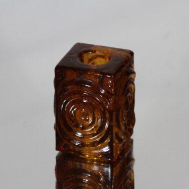 Riihimäen lasi Rengas kynttilänjalka, amber, suunnittelija Tamara Aladin, pieni