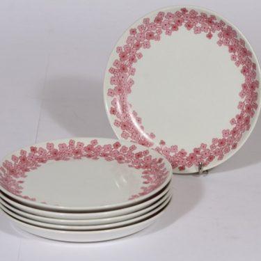 Arabia Leena lautaset, vaalean punainen, 6 kpl, suunnittelija , pieni, serikuva