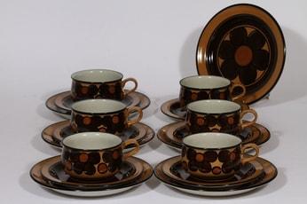 Arabia Kalevala teekupit ja leivoslautaset, käsinmaalattu, 6 kpl, suunnittelija , käsinmaalattu, retro