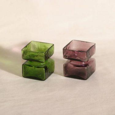 Riihimäen lasi Pala lasimaljakot, lila|vihreä, 2 kpl, suunnittelija Helena Tynell,