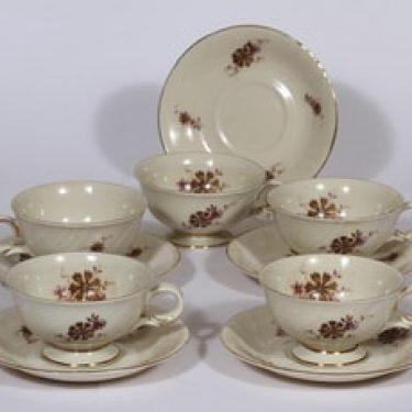 Arabia Raili teekupit, 5 kpl, suunnittelija , serikuva, kukka-aihe, kullattu