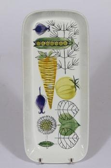 Arabia Vegeta kulho, käsinmaalattu, suunnittelija Esteri Tomula, käsinmaalattu, matala, vihannesaihe, retro