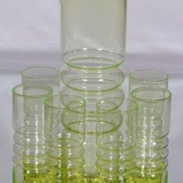 Riihimäen lasi Tzarina kaadin ja lasit, keltainen, 6 kpl, suunnittelija Nanny Still,